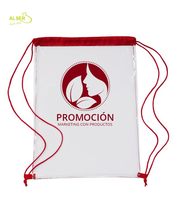 Mochila TRANSPARENTE peronalizada. roja