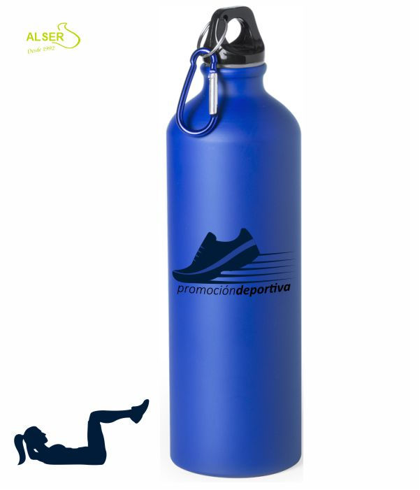 bidon de aluminio 800 ml para publicidad azul