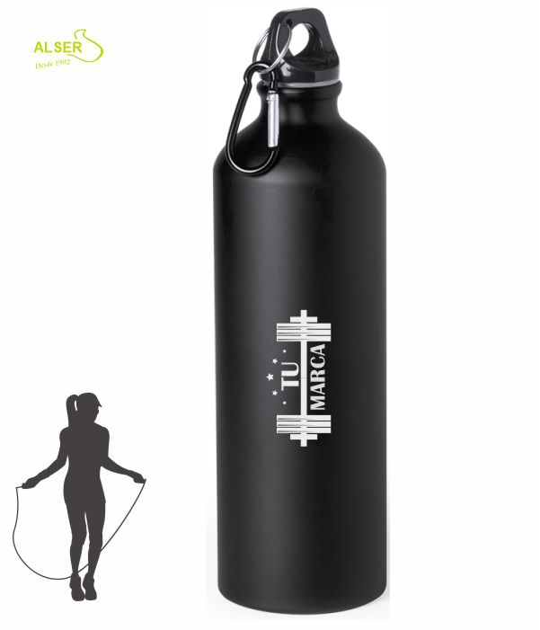 bidon de aluminio 800 ml para publicidad negro