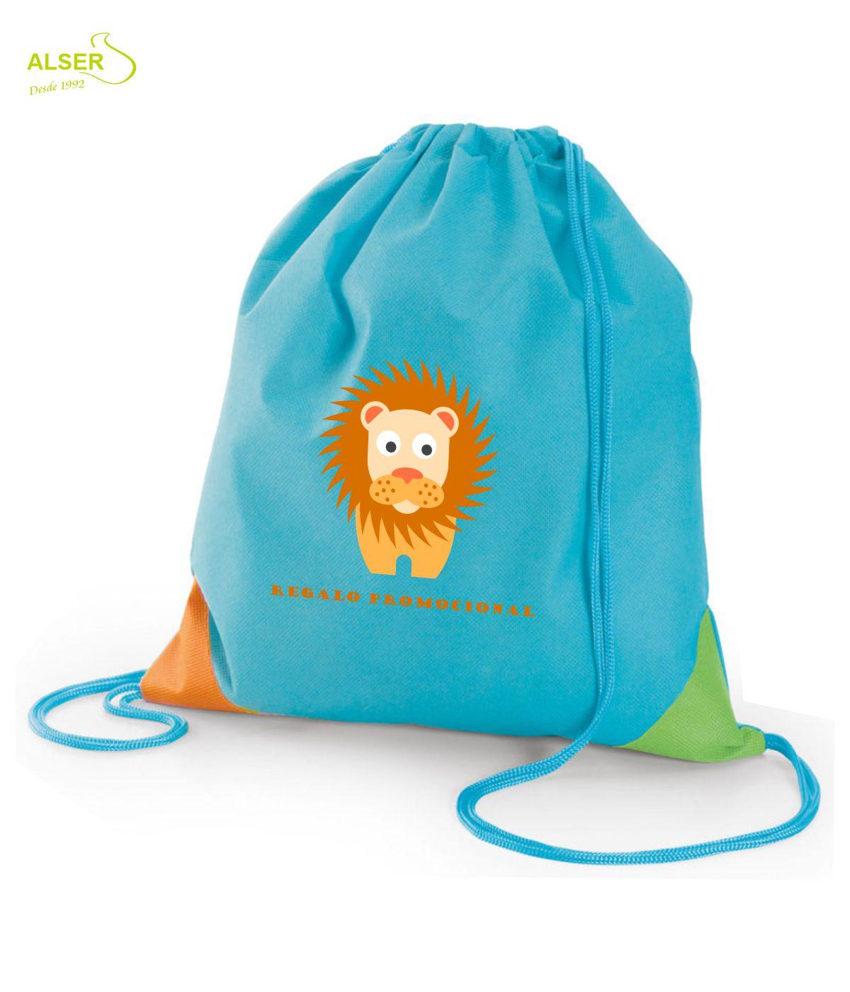 Mochila saco infantil para publicidad. Azul
