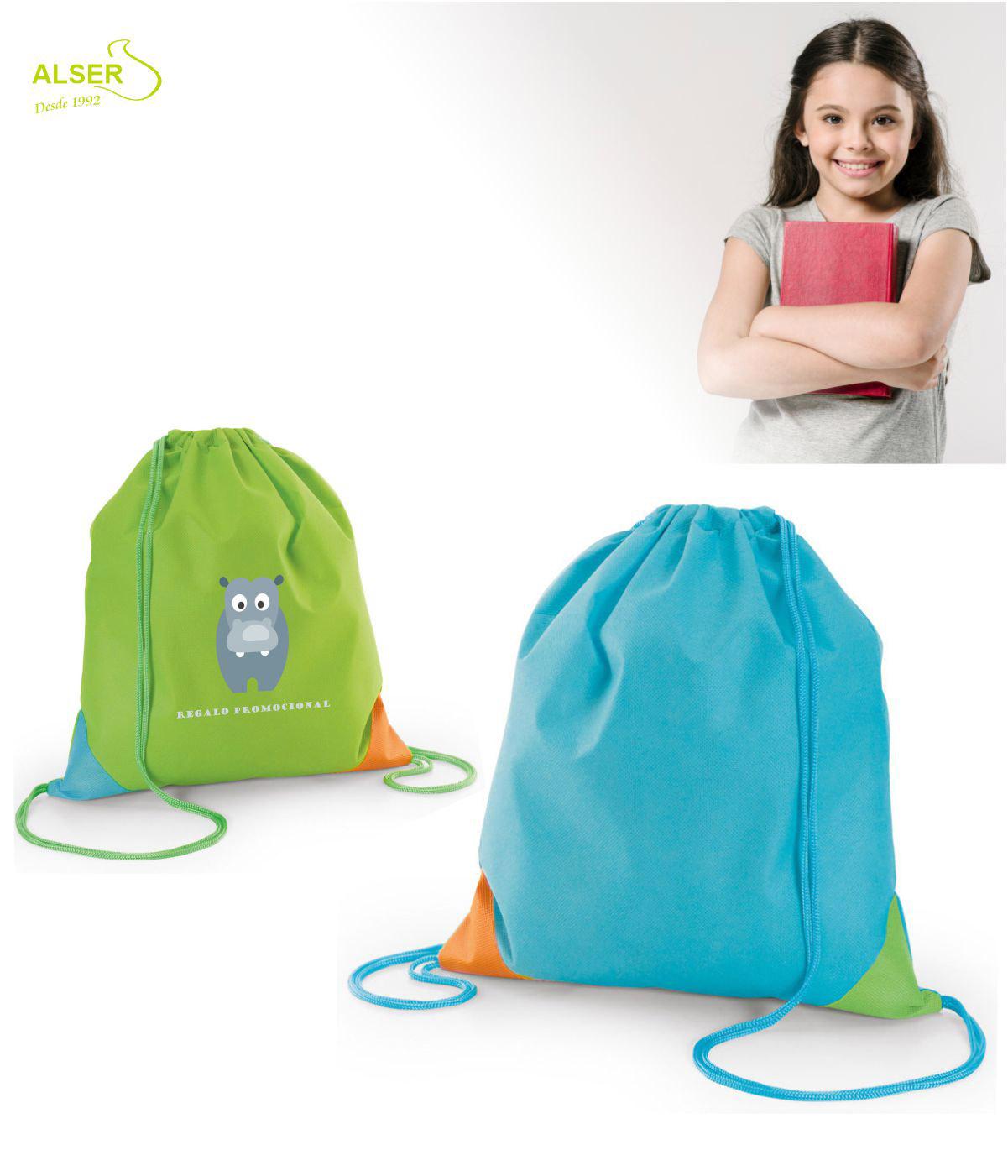 Mochila saco infantil para publicidad. Dos colores, verde y azul