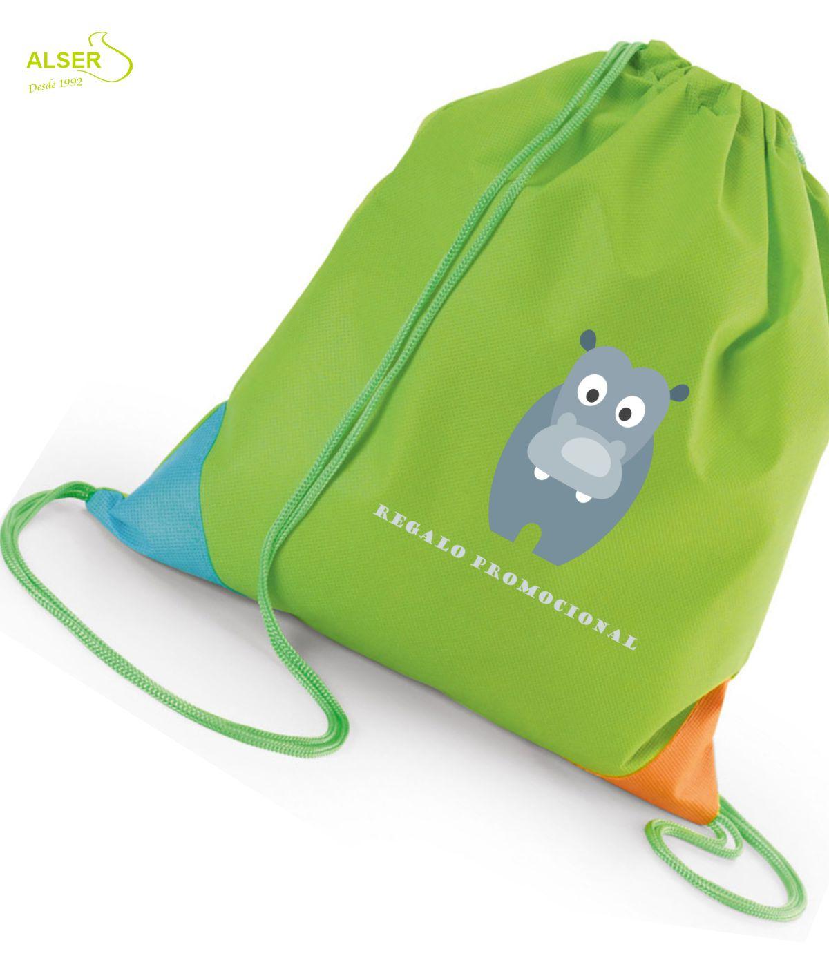 Mochila saco infantil para publicidad. Dos colores, verde