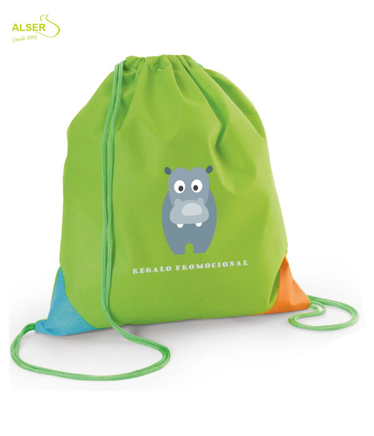 Mochila saco infantil para publicidad. Verde