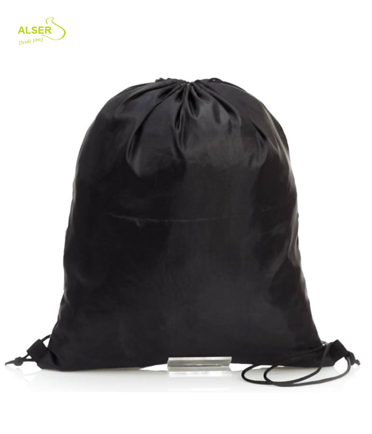 Bolsa de cordones ELEGANTE.. Negra y Corcho. Publicidad para empresas. Espalda