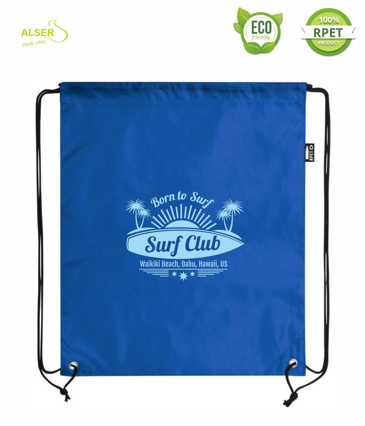mochila saco rpet para publicidad azul