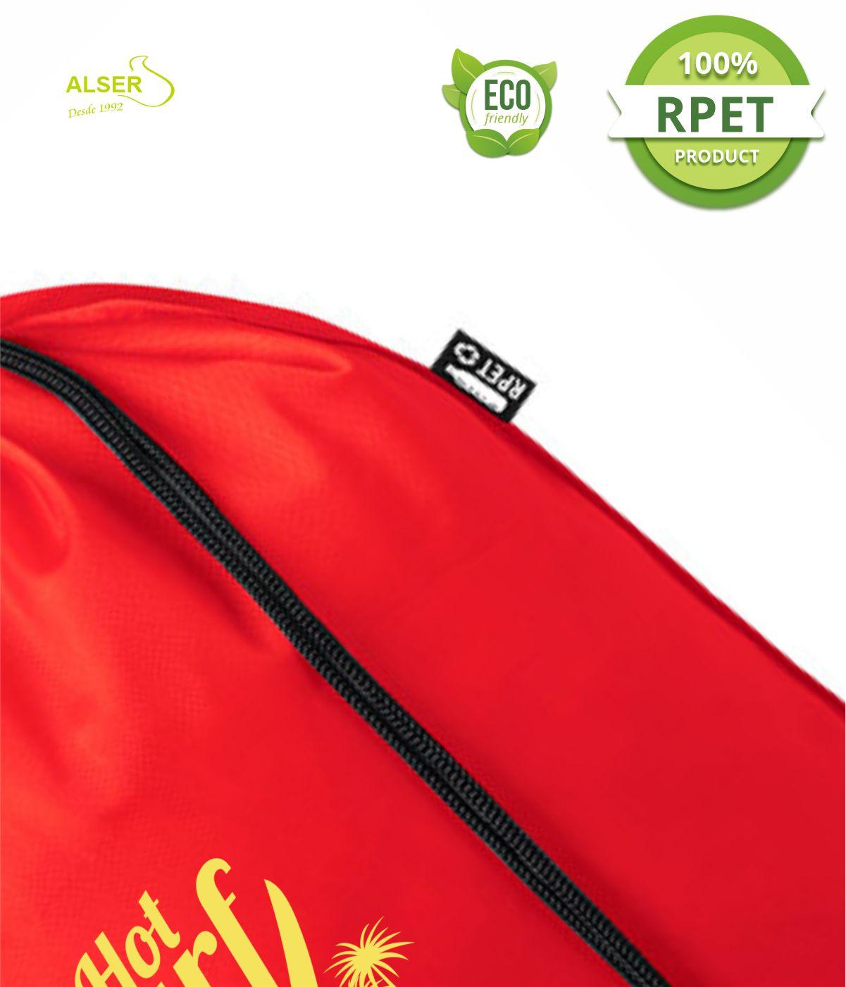 mochila saco rpet para publicidad detalle etiqueta
