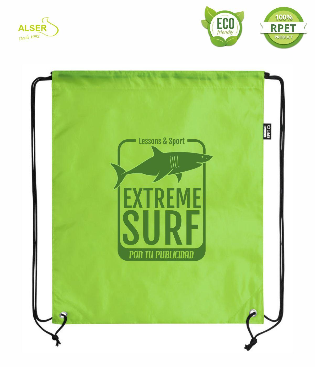 mochila saco rpet para publicidad verde
