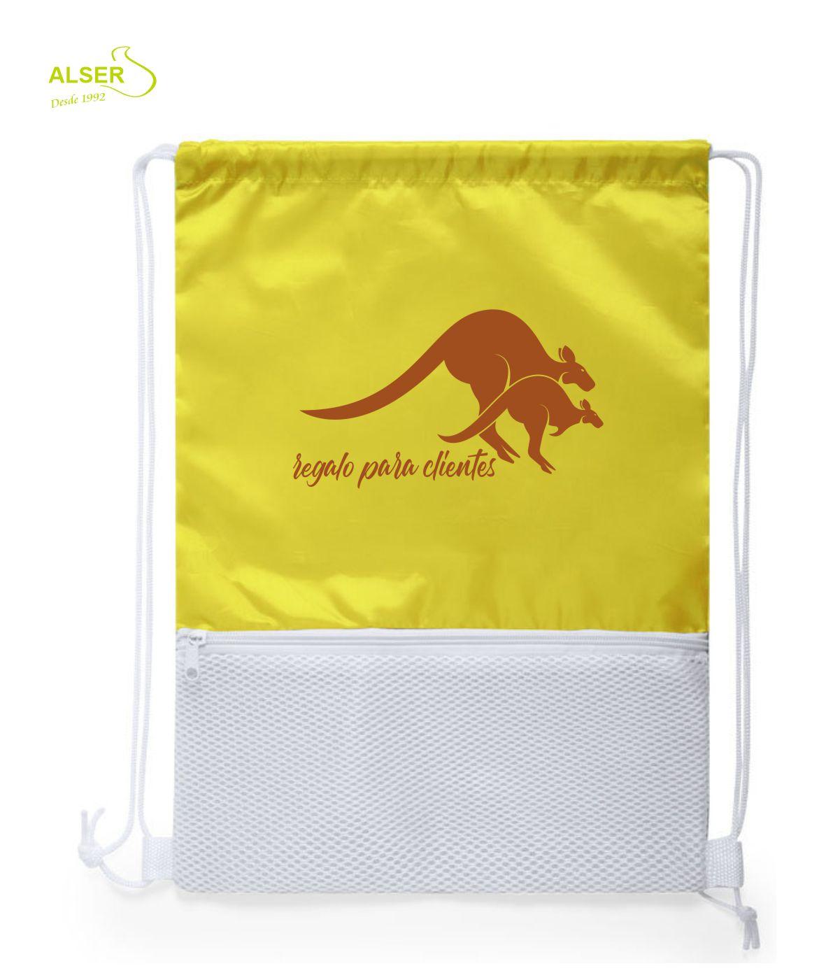 mochila saco con cremallera amarilla