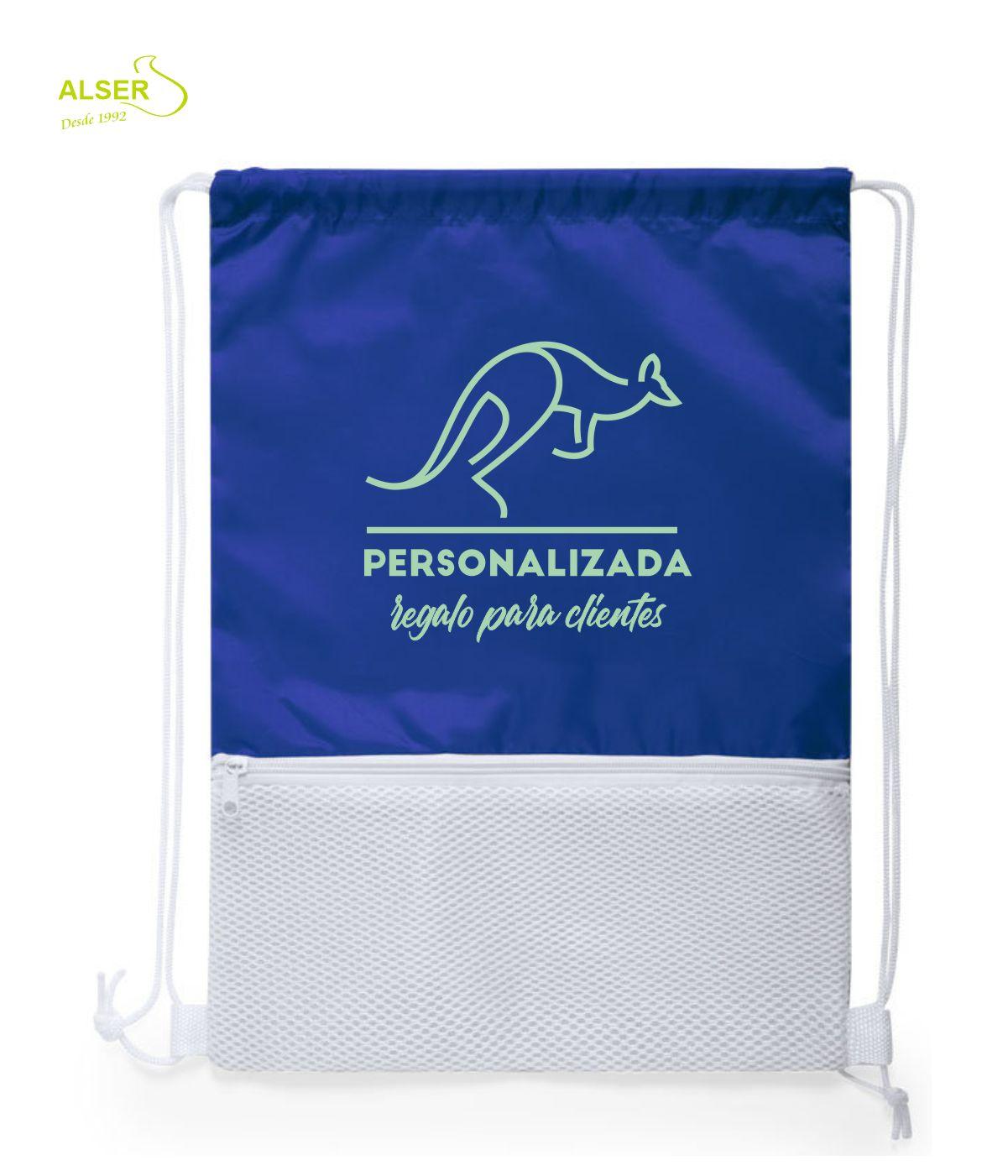 mochila saco con cremallera azul
