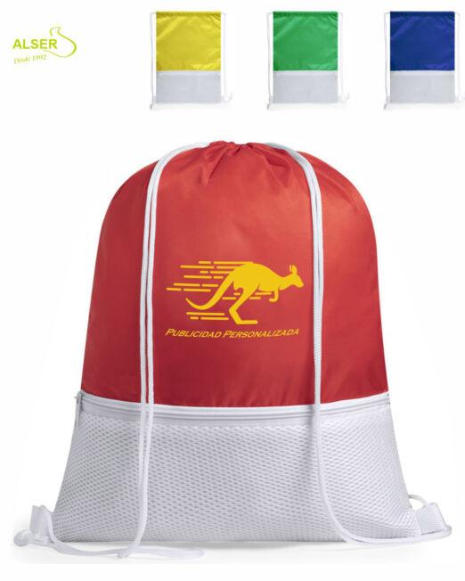 mochila saco con cremallera colores