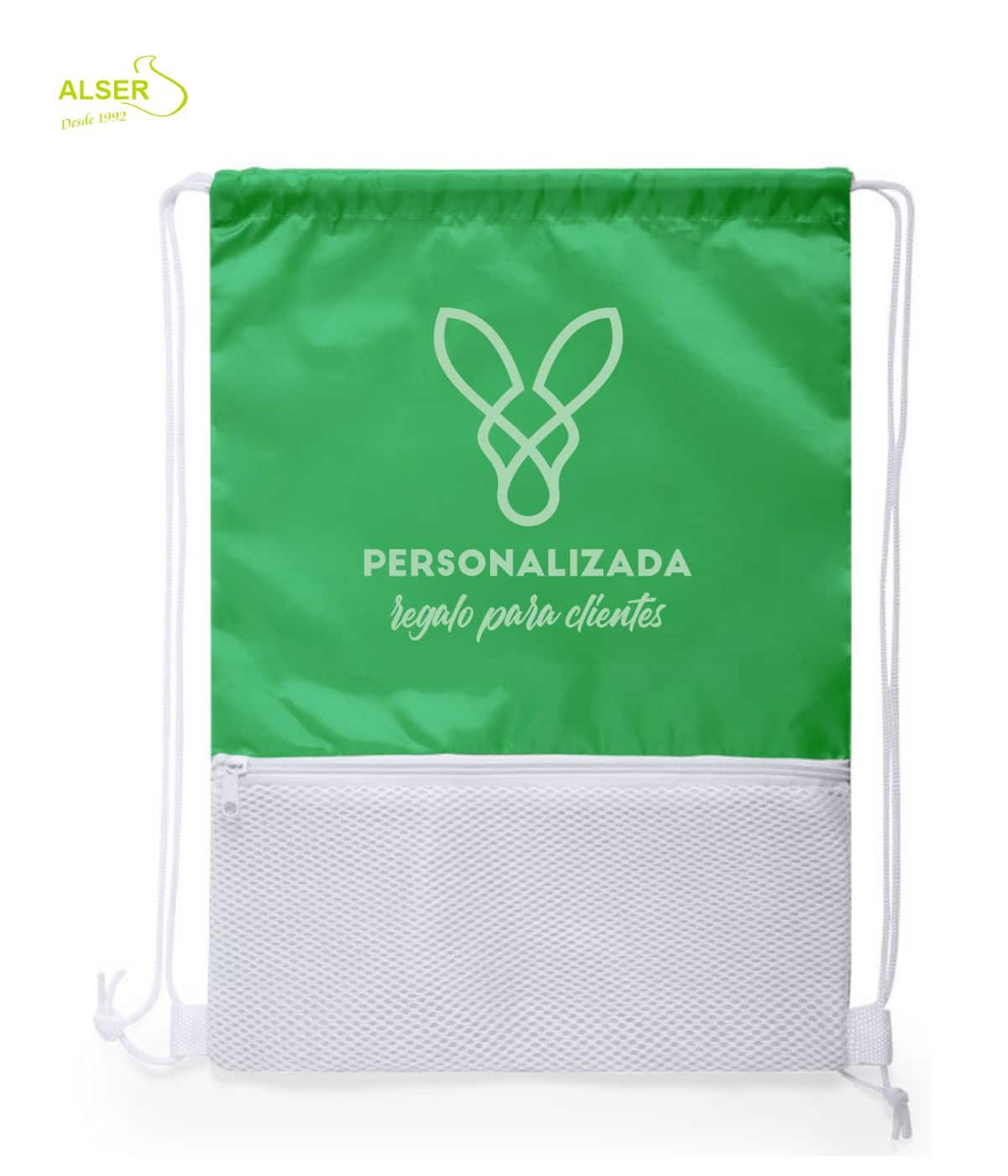mochila saco con cremallera verde