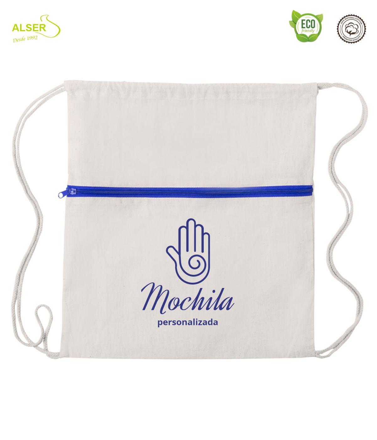 mochila de cuerdas con cremallera azul