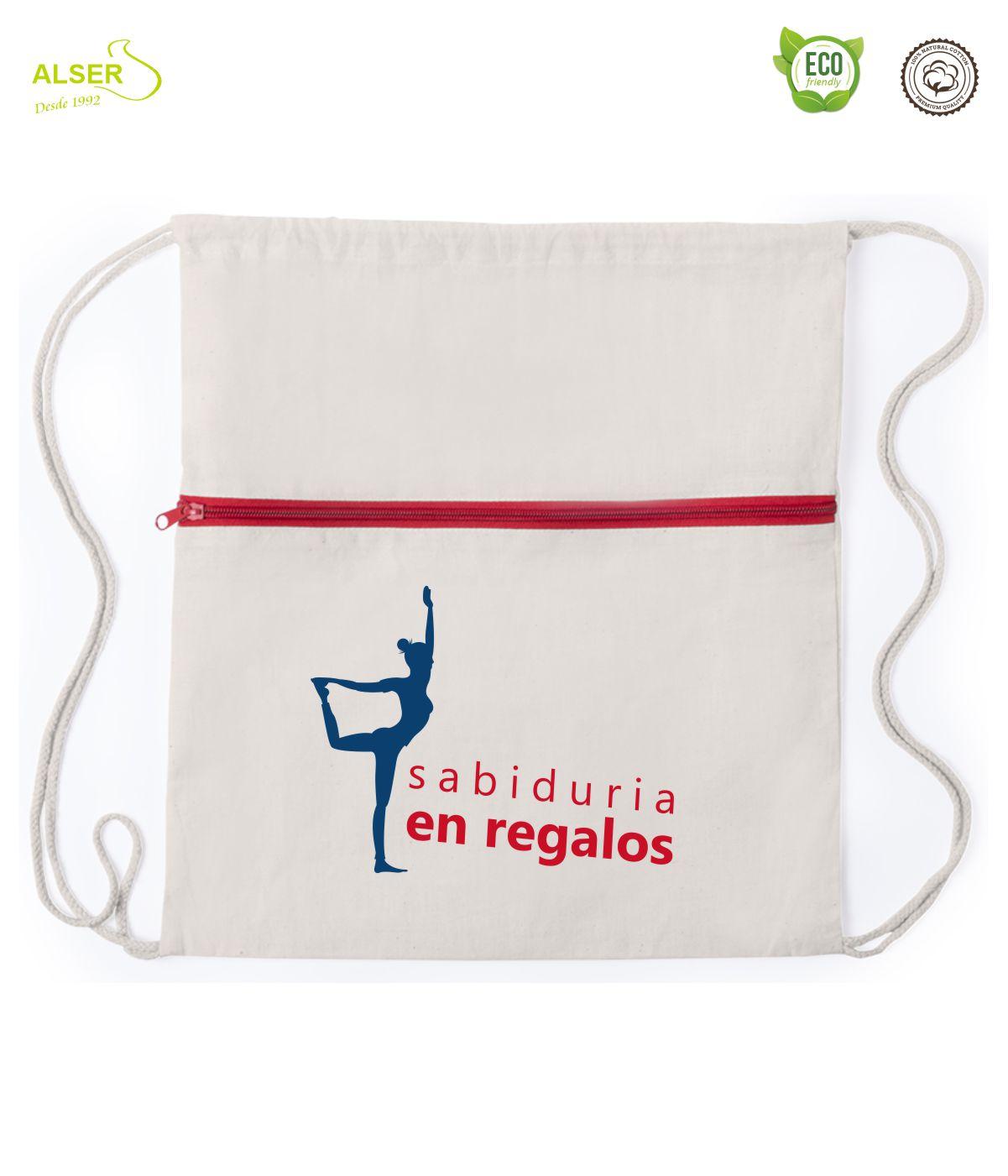 mochila de cuerdas con cremallera roja