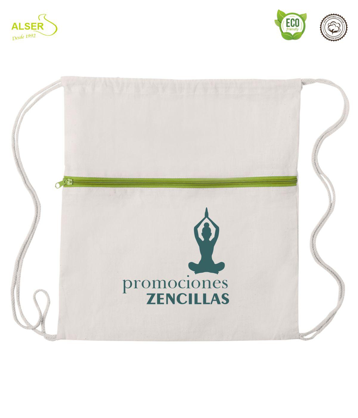 mochila de cuerdas con cremallera verde claro