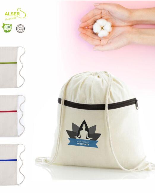 Mochila de cuerdas con cremallera personalizada para promociones y publicidad
