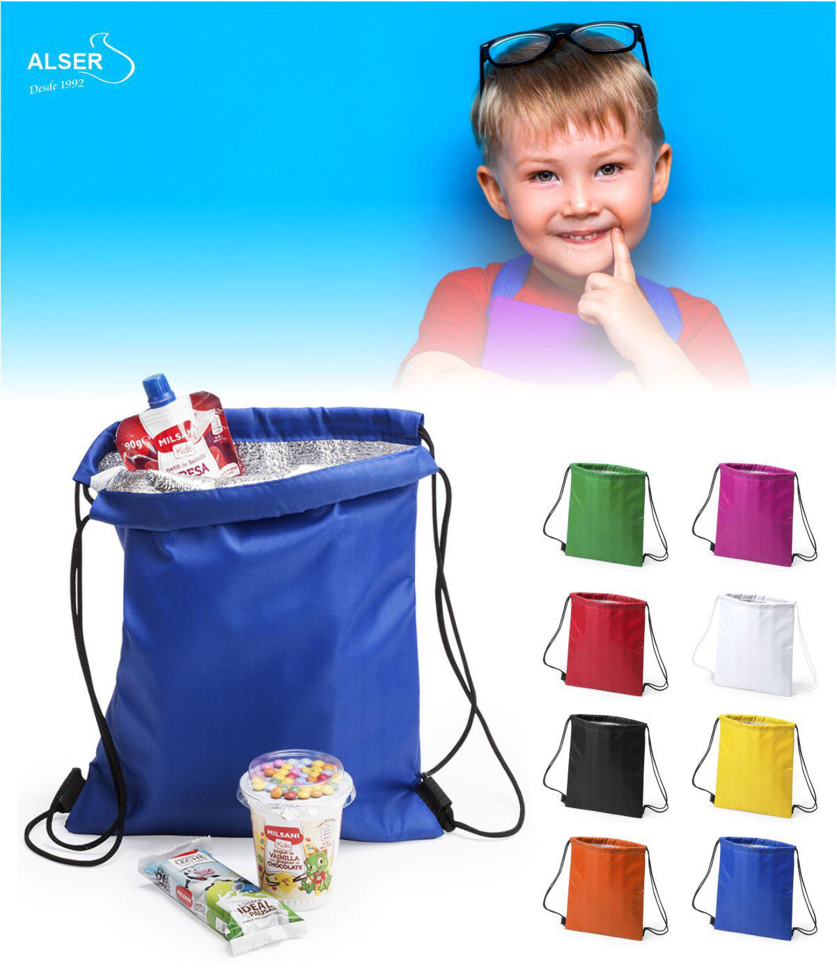 Mochila de cuerdas nevera infantil. Gama de colores.