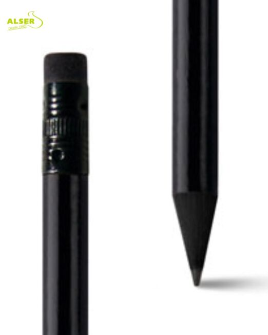 Lapiz Elegante en Madera Negra Detalle de la punta y goma en negro