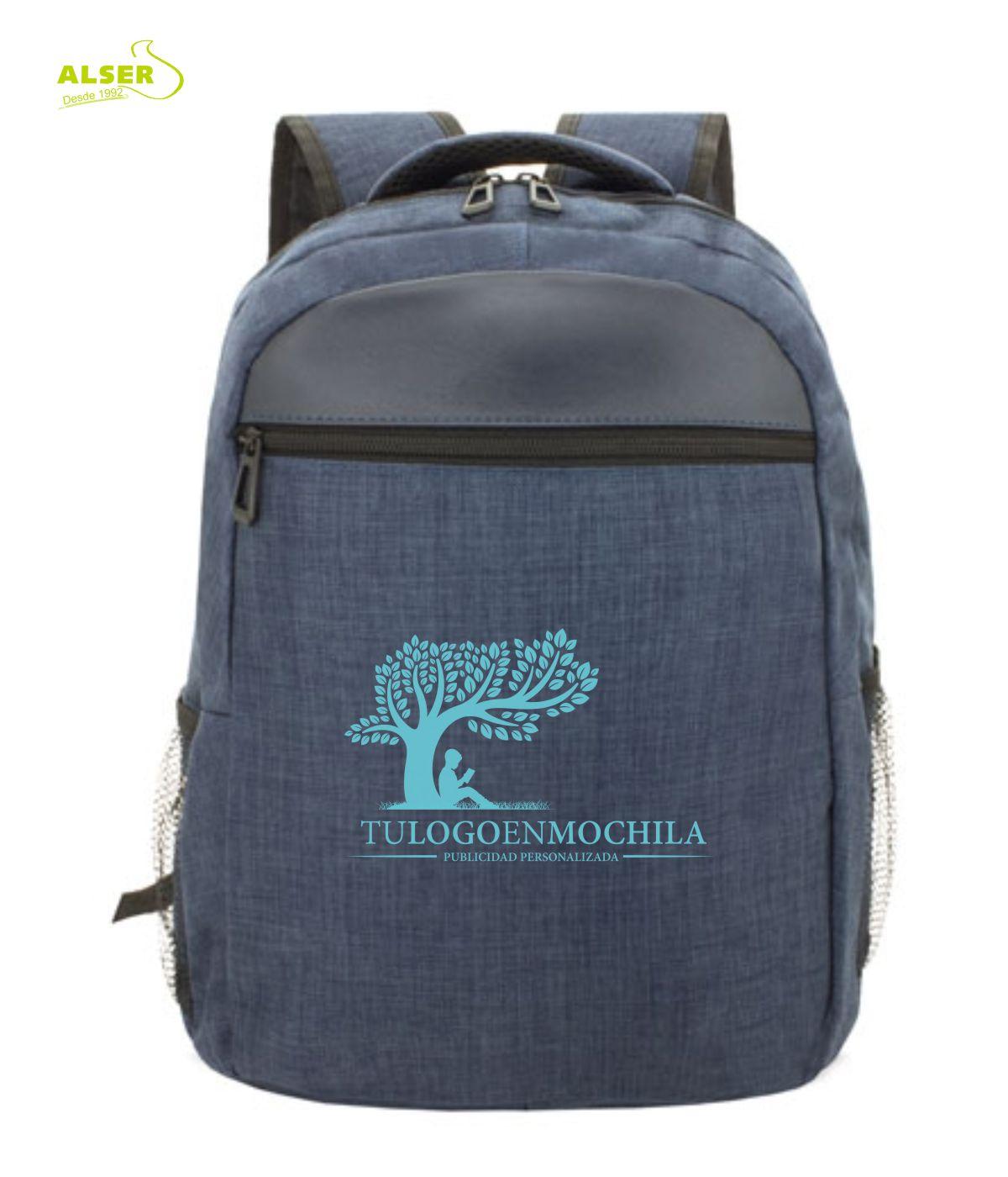 mochila para promocion personalizada con tu logo. Color azul