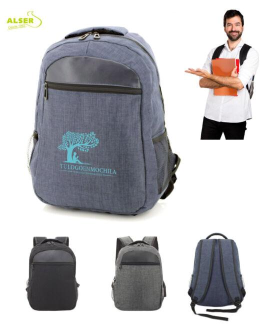 mochila para promocion personalizada con tu logo. Colores azul, negro y gris