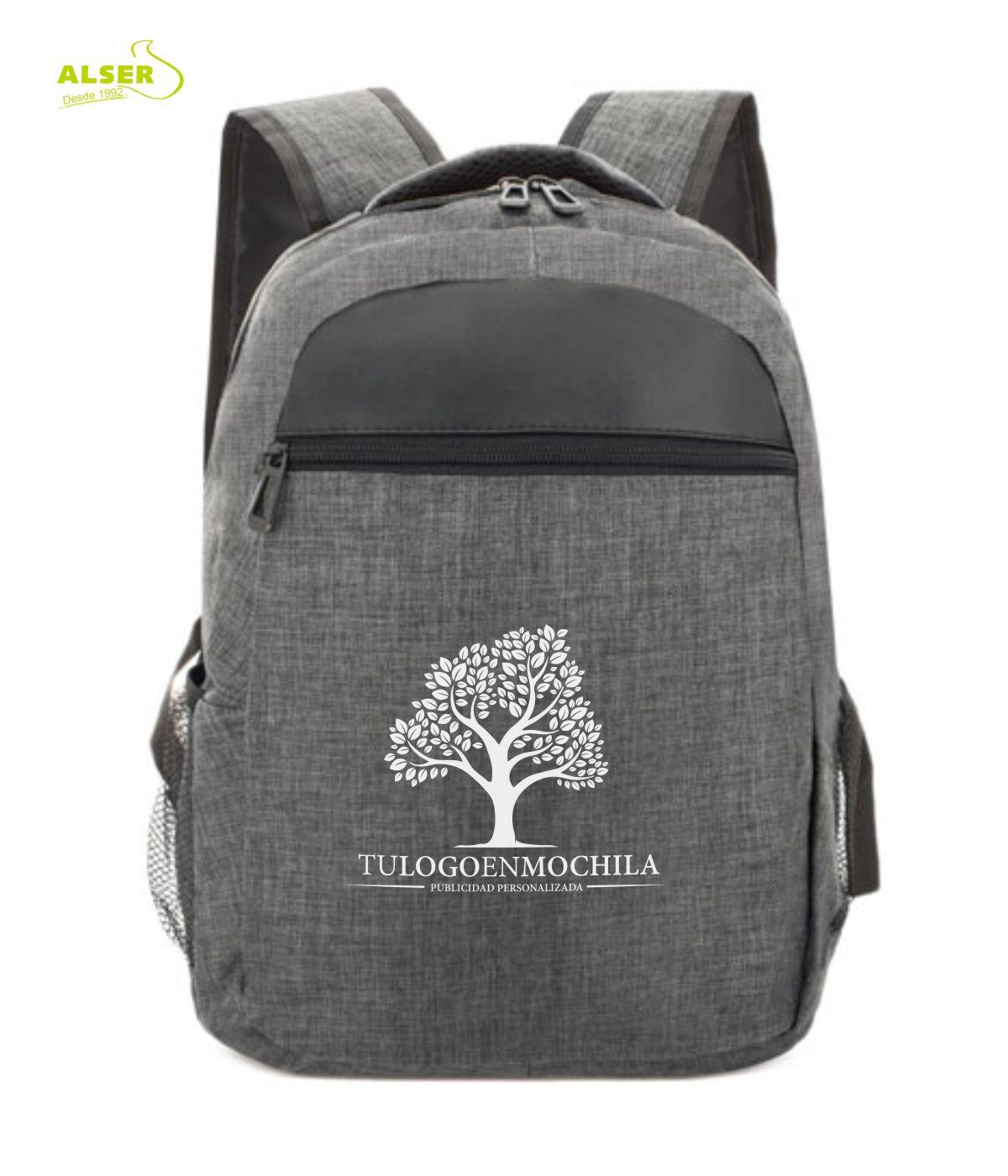 mochila para promocion personalizada con tu logo. Color Gris