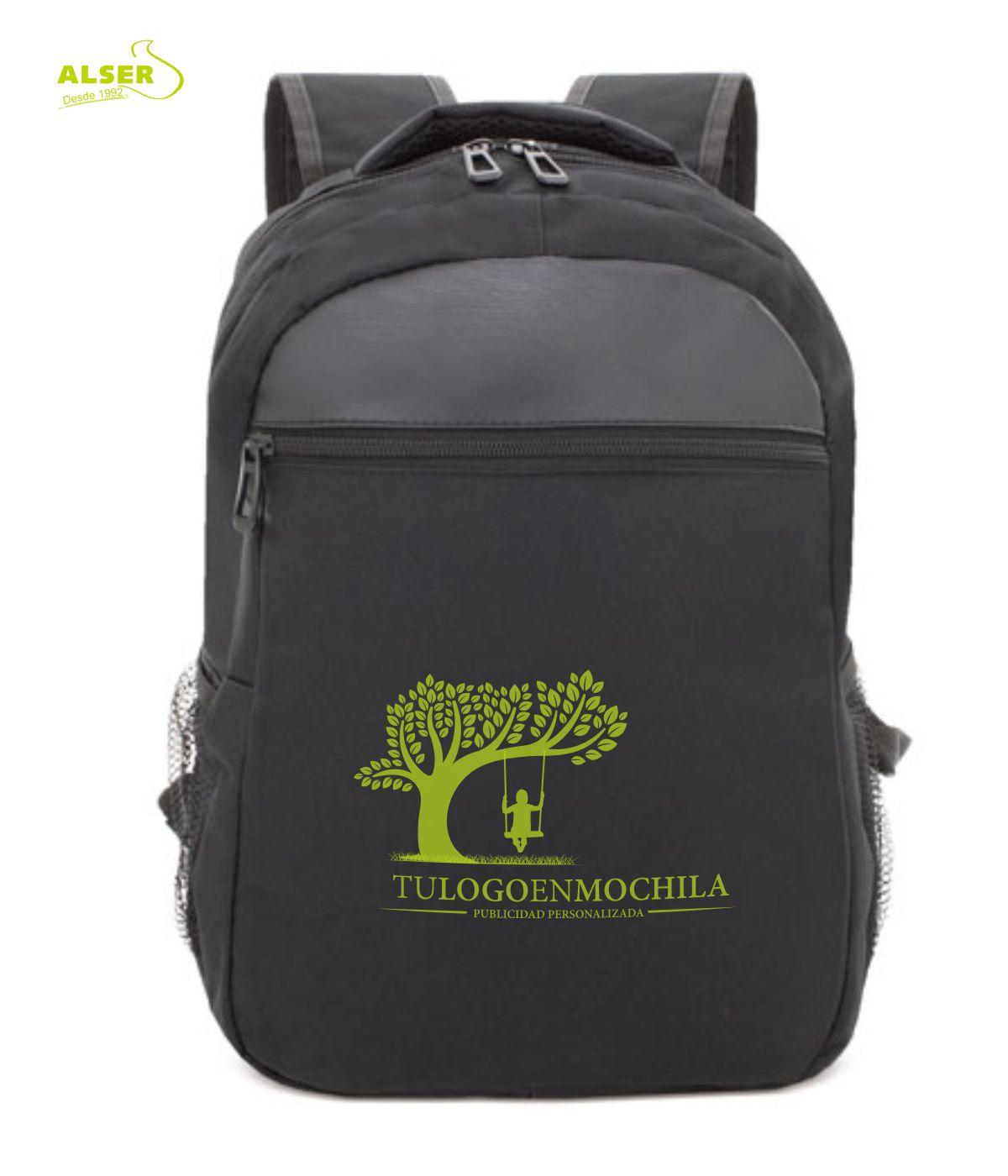 mochila para promocion personalizada con tu logo. Color negro