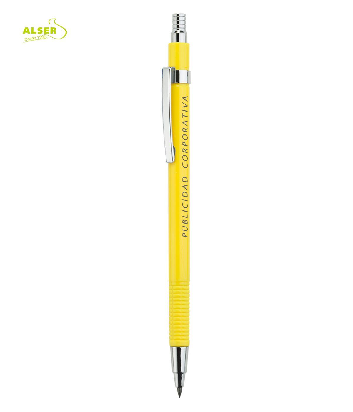 Portaminas Corporativo para publicidad. Amarillo