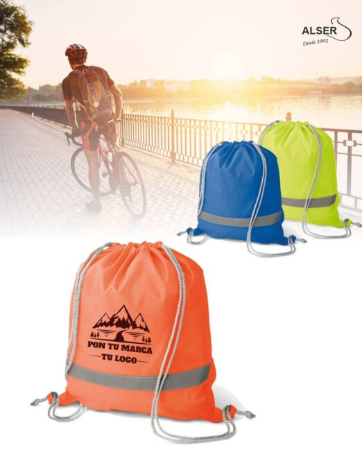 Mochila saco reflectante para publicidad. Colores naranja, azul y amarilla
