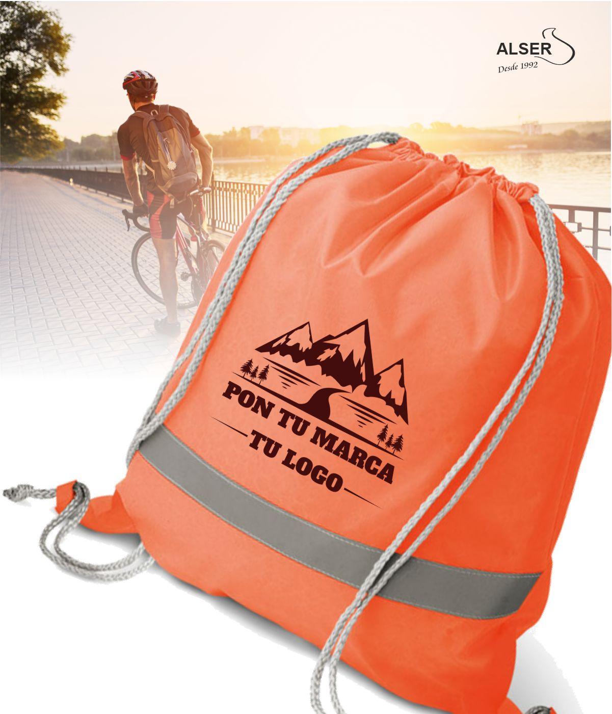 Mochila saco reflectante para publicidad. Colores naranja