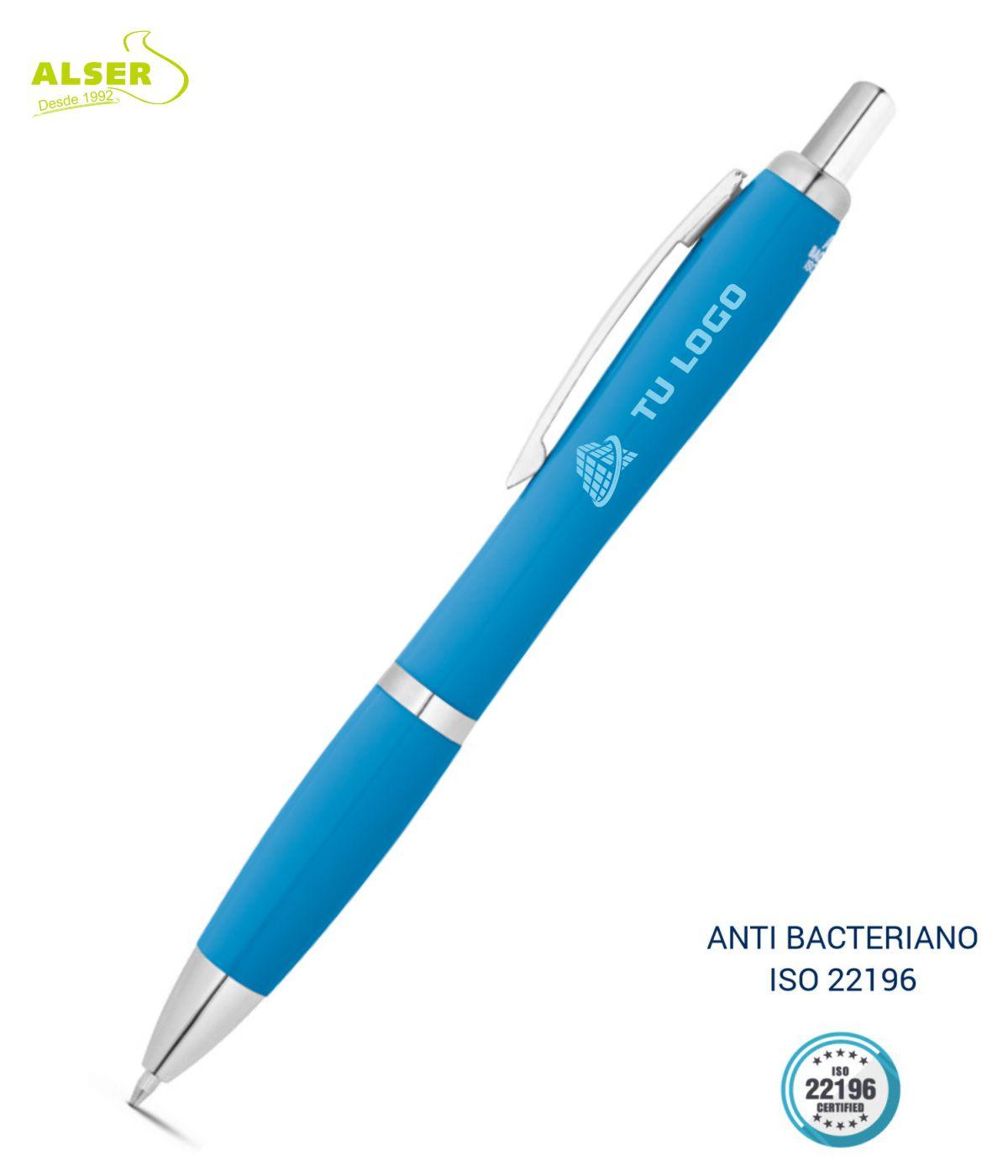 Boligrafo anti bacteriano azul claro