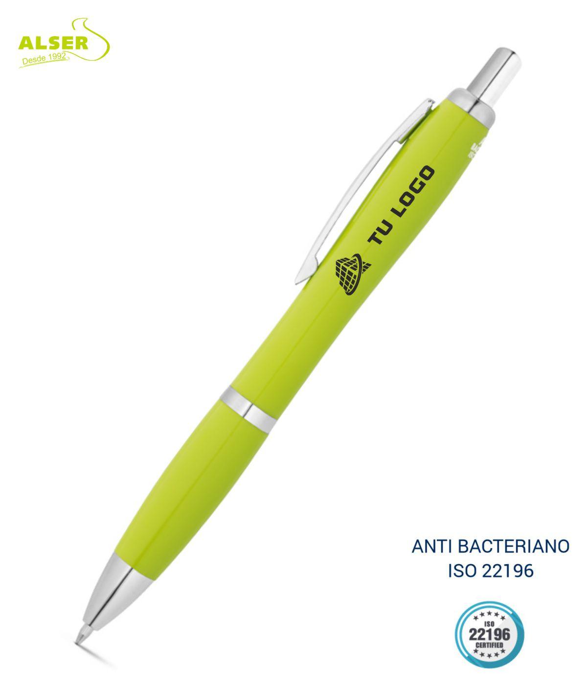 Boligrafo anti bacteriano verde claro
