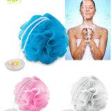 Esponja ducha personalizada para promociones de empresa, Colores Azul, Rosa y Blanca