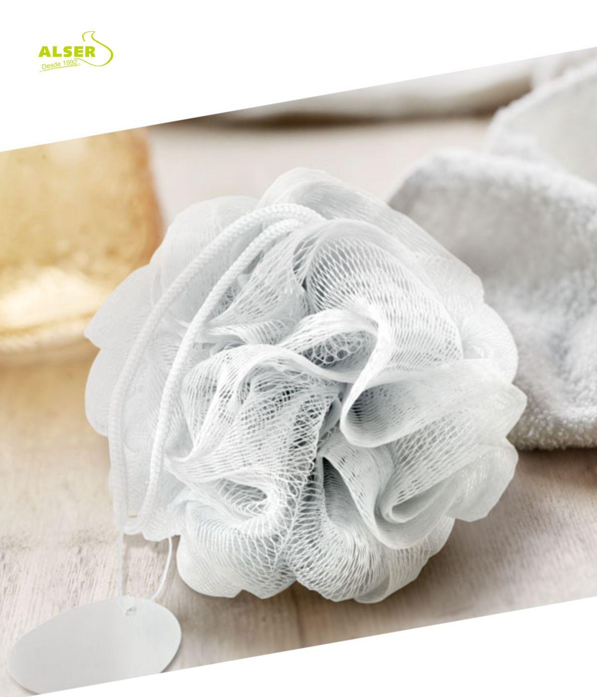 Esponja ducha personalizada para promociones de empresa Blanca