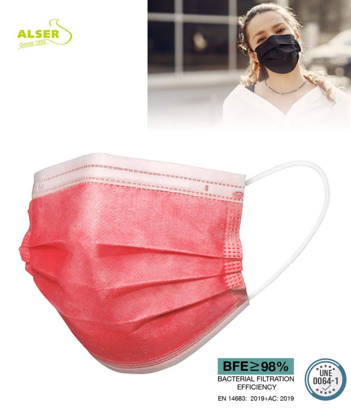 Mascarilla higienica Roja