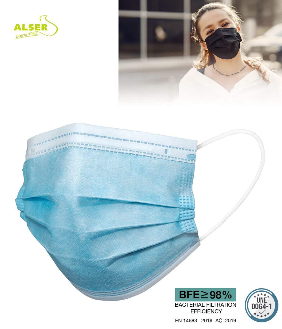 Mascarilla higienica azul