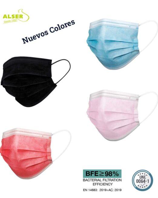 Mascarillas higienicas de colores