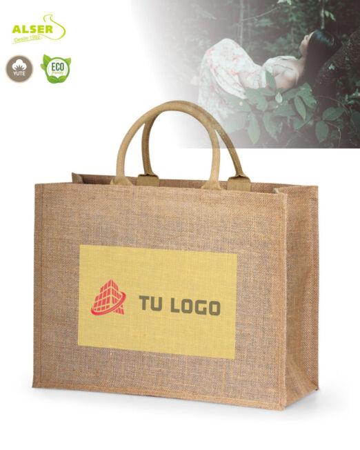 Bolsa de yute de algodon con logo para negocios y empresas