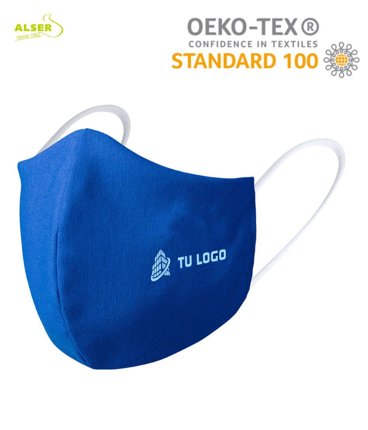 Mascarilla reutilizable con logo azul