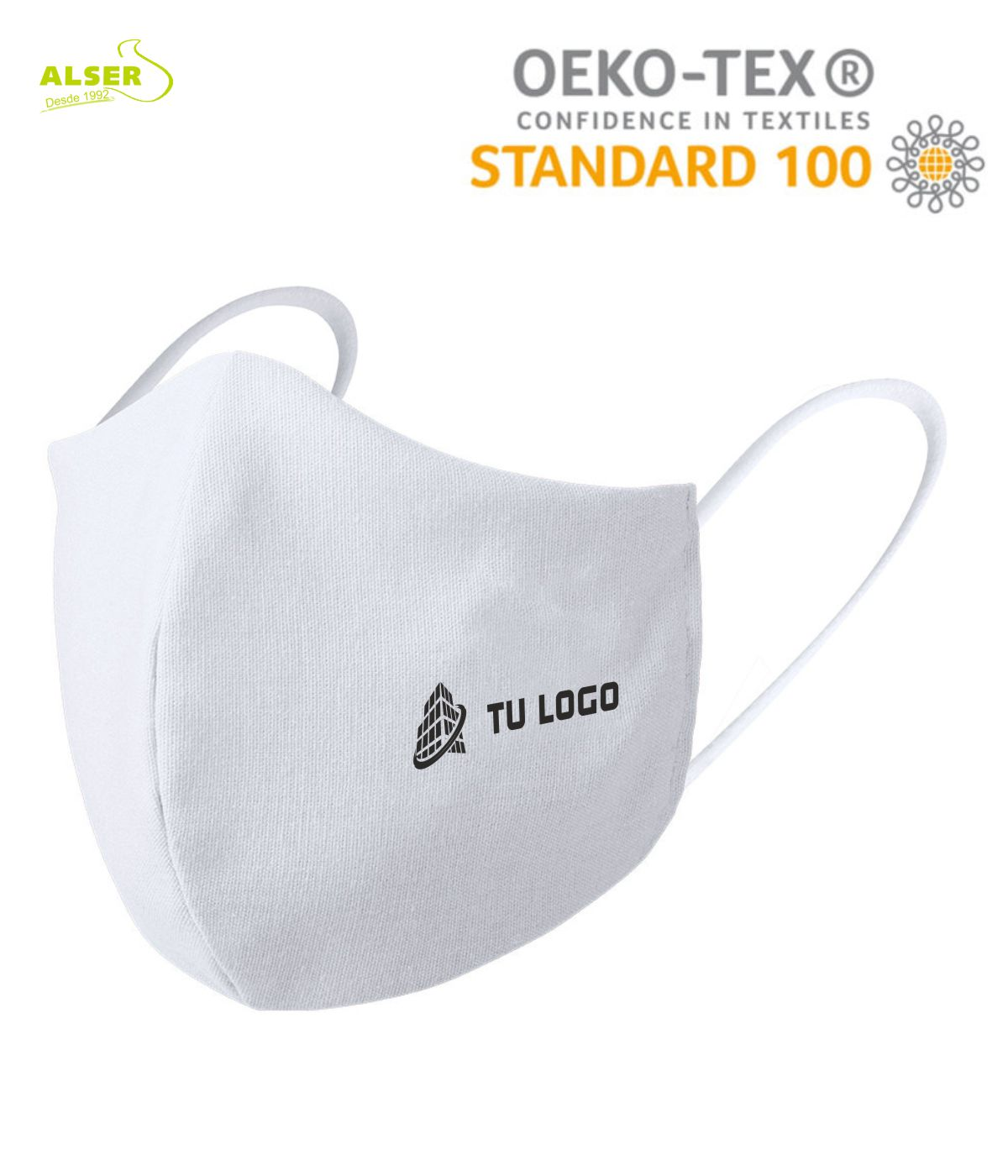 Mascarilla reutilizable con logo blanca