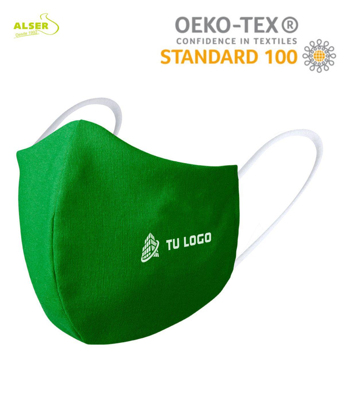 Mascarilla reutilizable con logo verde