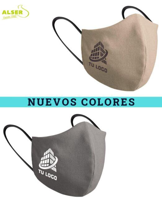 mascarillas con logotipo beige y gris