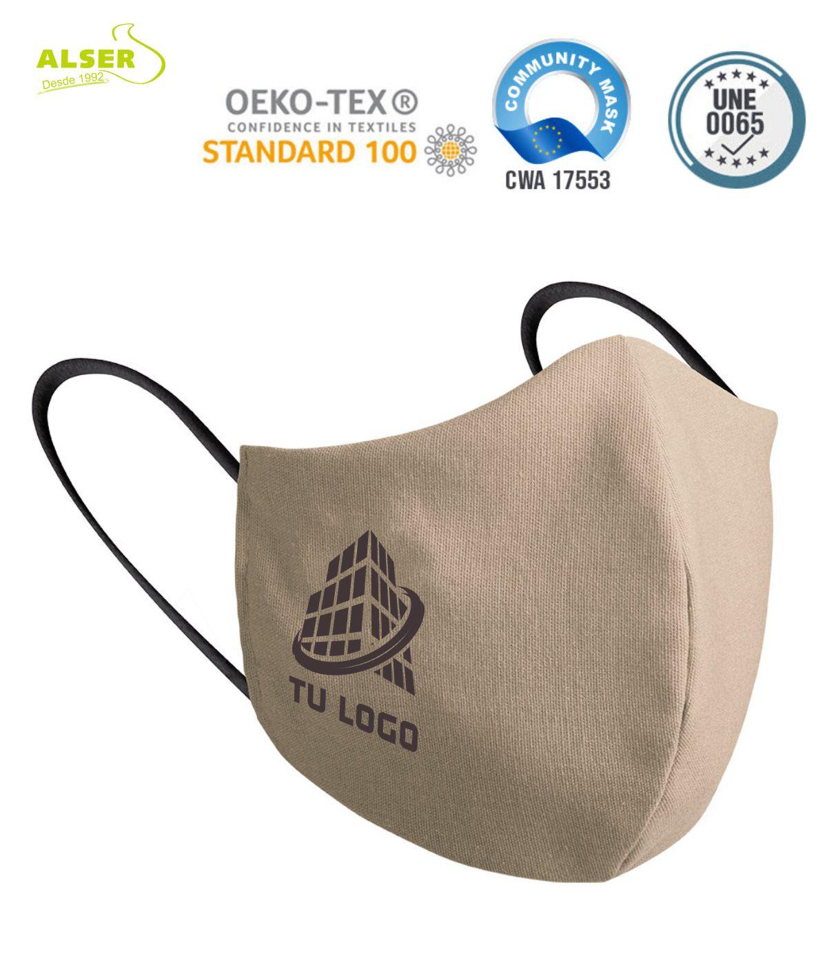 mascarillas personalizadas con logo empresa beige