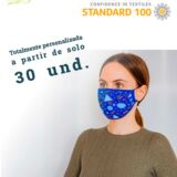 mascarilla de tela lavable, reutilizable y personalizada