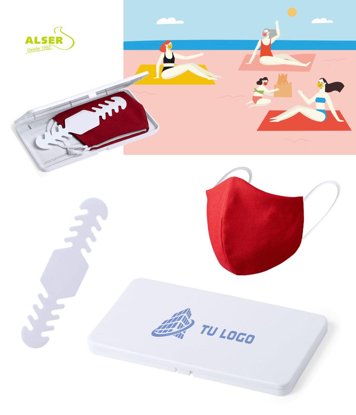 productos higiénicos en set corporativo con mascarilla reutilizable