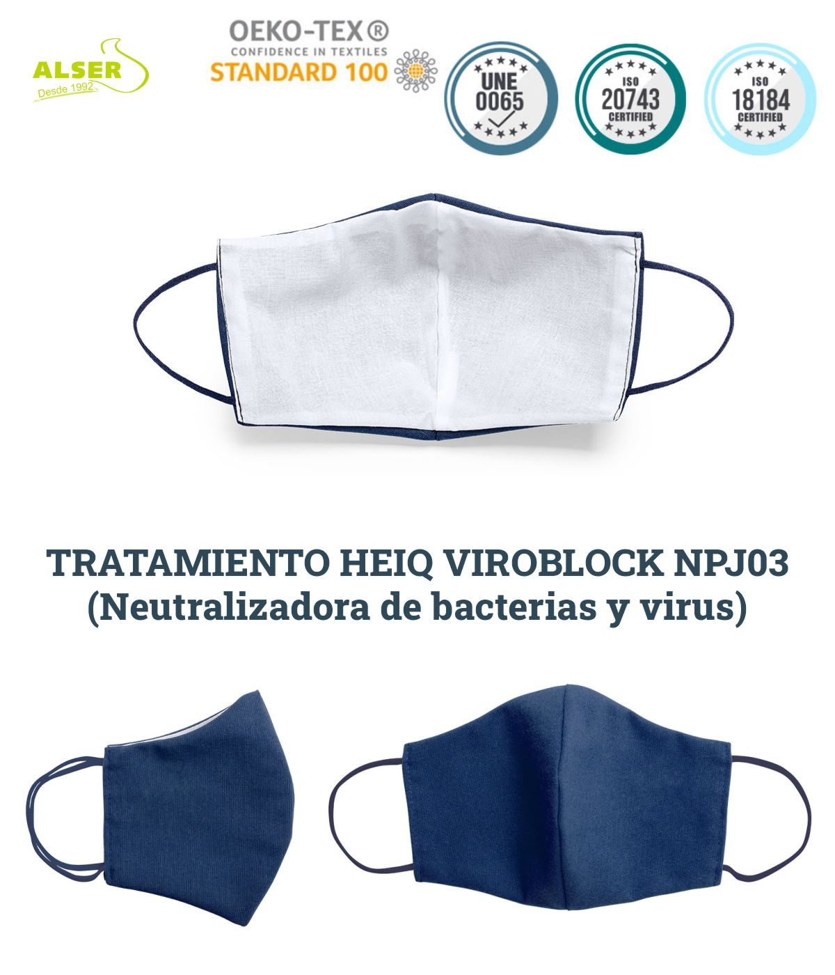 mascarilla antimicrobiana caracteristica tecnicas