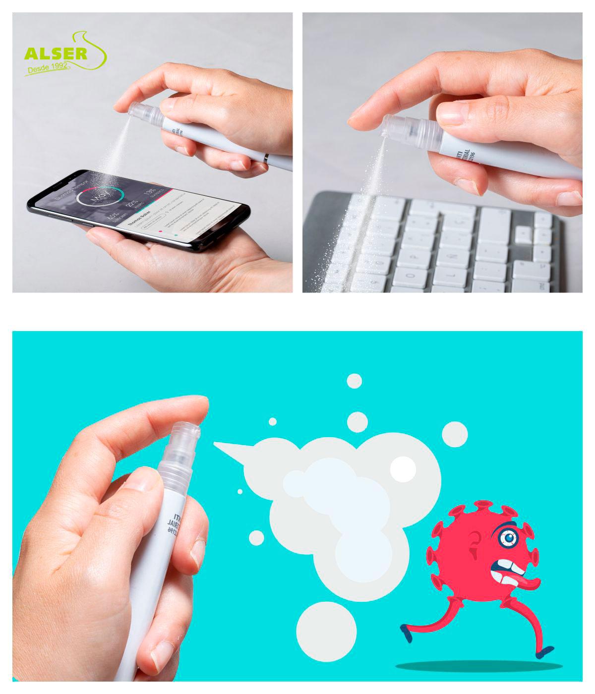 boligrafo pulverizador para pantalla, teclado, manos y desinfección de otros objetos cotidianos