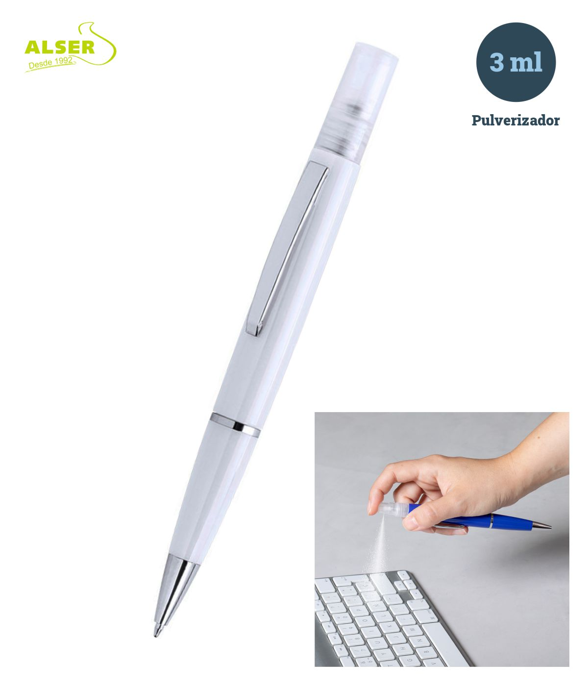 Bolígrafo spray en Blanco