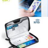 Estuche para tarjetas con luz esterilizadora y RFID