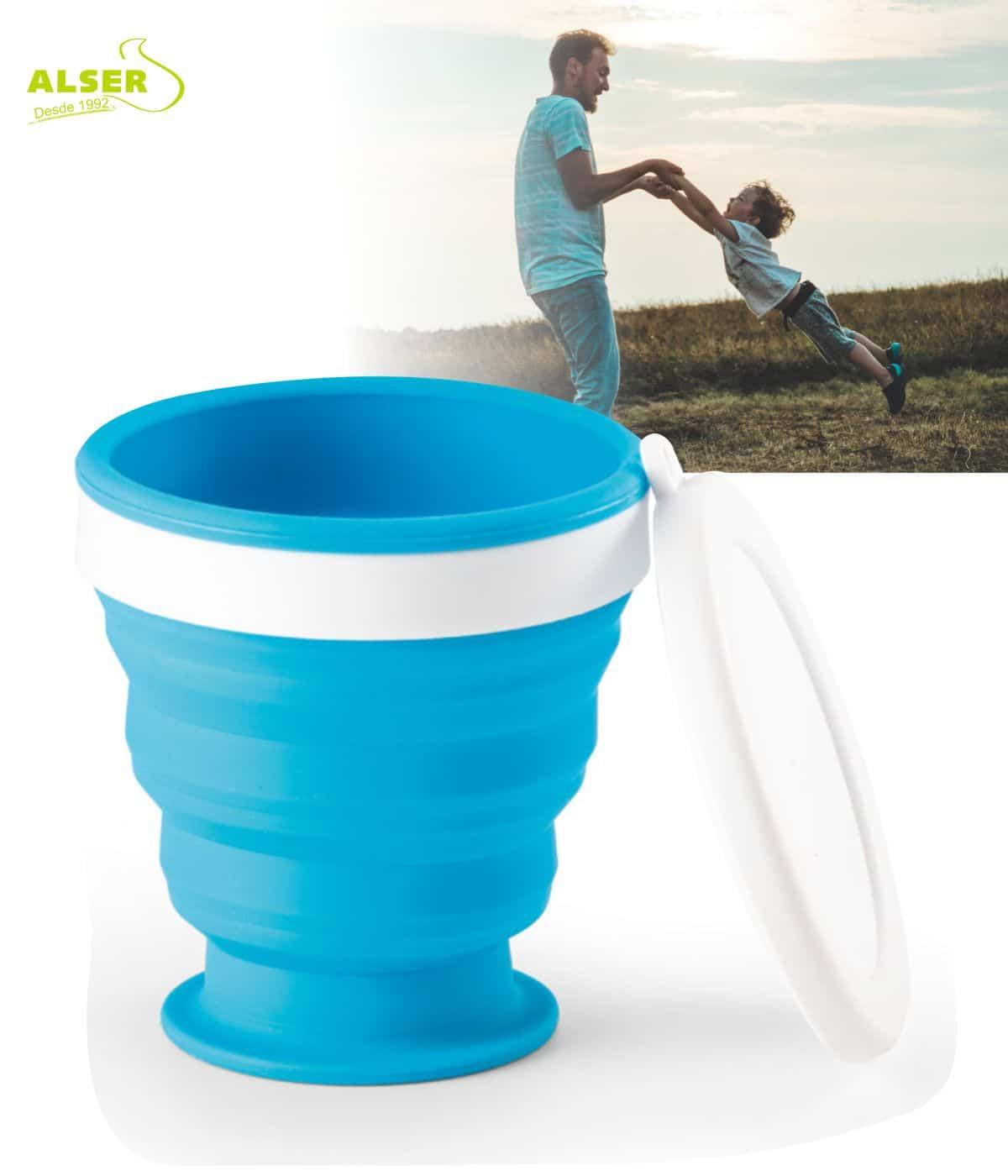 vaso plegable de silicona Azul Claro