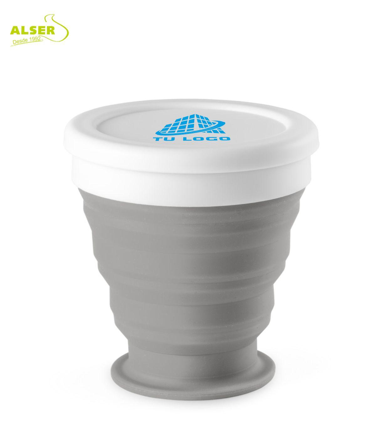 vaso plegable de silicona Gris