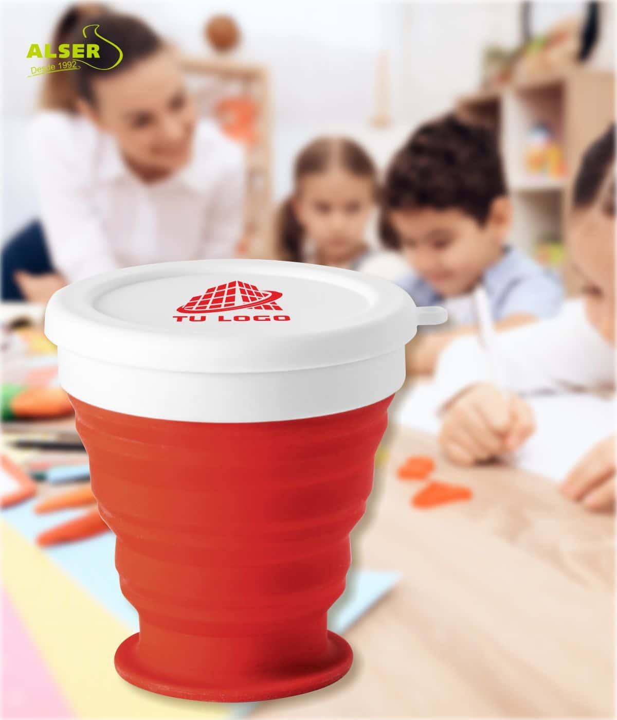 vaso plegable de silicona Rojo